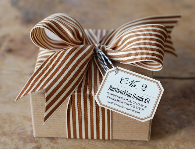 Delicious chocolate striped ribbon or any patterned ribbon to plain paper wrapping for a touch of pizzazz. #giftwrap