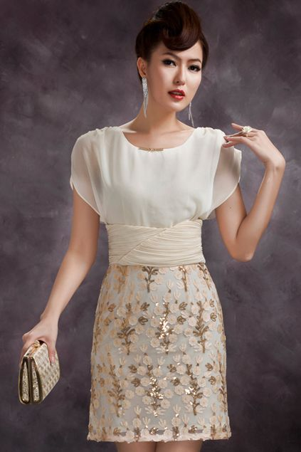 ROMWE | Pleated Sequins Embellished Apricot Dress, The Latest Street Fashion #ROMWE
