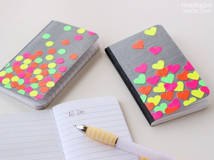Easy Neon Confetti Notebook Crafts ~ Madigan Made { simple DIY ideas }