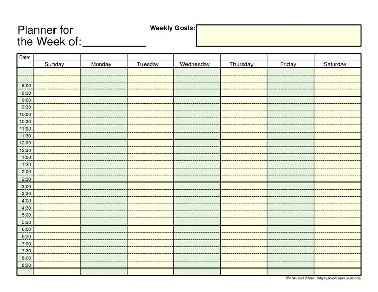 hourly planner template excel