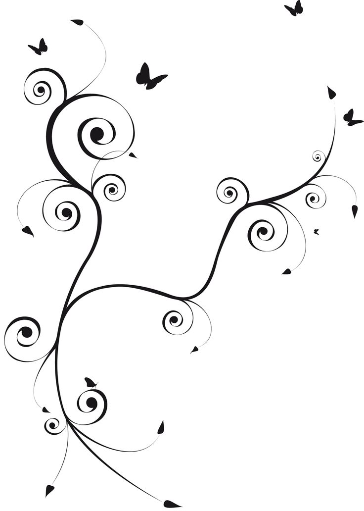 Volutes et papillons - pretty tattoo design