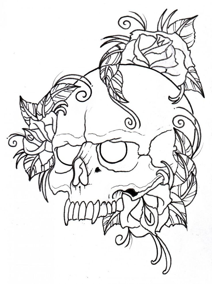 skull and roses outline