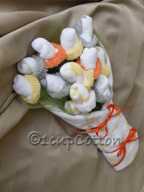 Best 25 baby sock bouquet ideas on pinterest baby shower gifts items similar to baby sock bouquet in neutral colors on etsy negle Image collections