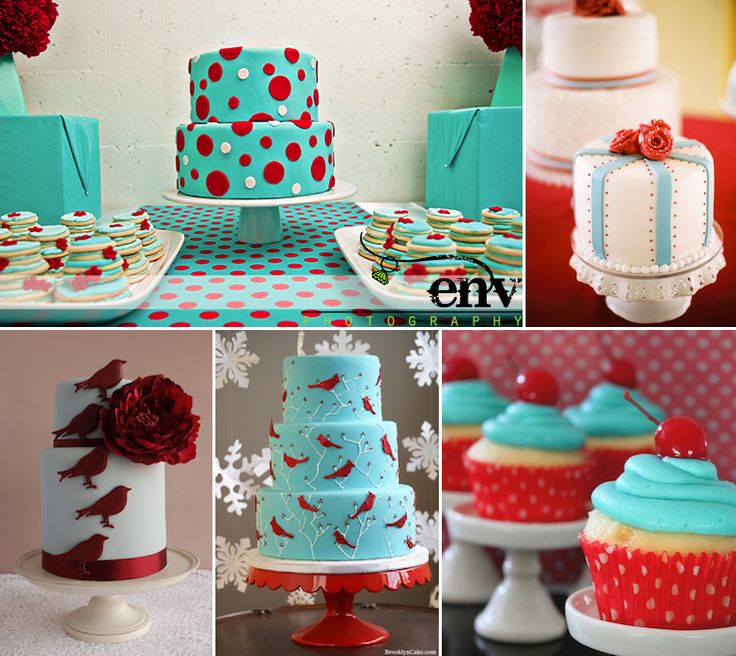 Red and Aqua Cakes, live this color combo