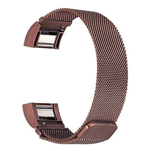 bayite Milanese Replacement Bands for Fitbit Charge 2 Coffee Brown Large