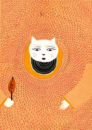 """Cat Goddess"" Illustration by Alessandro Bonaccorsi, 2016"
