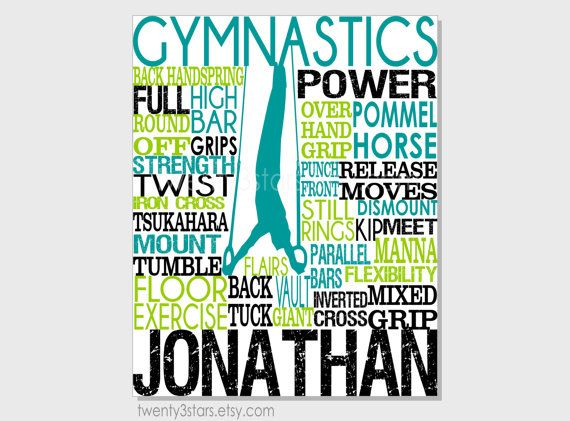 Men's Gymnastics Typography Art Print, Perfect for Boy's Room Art, You Choose the Colors, Makes a Great Gift for any Gymnast