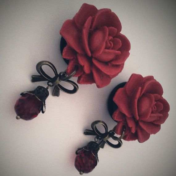 Romantic Red Roses 13/16 inch 20mm  Plugs For by Glamsquared, $32.00