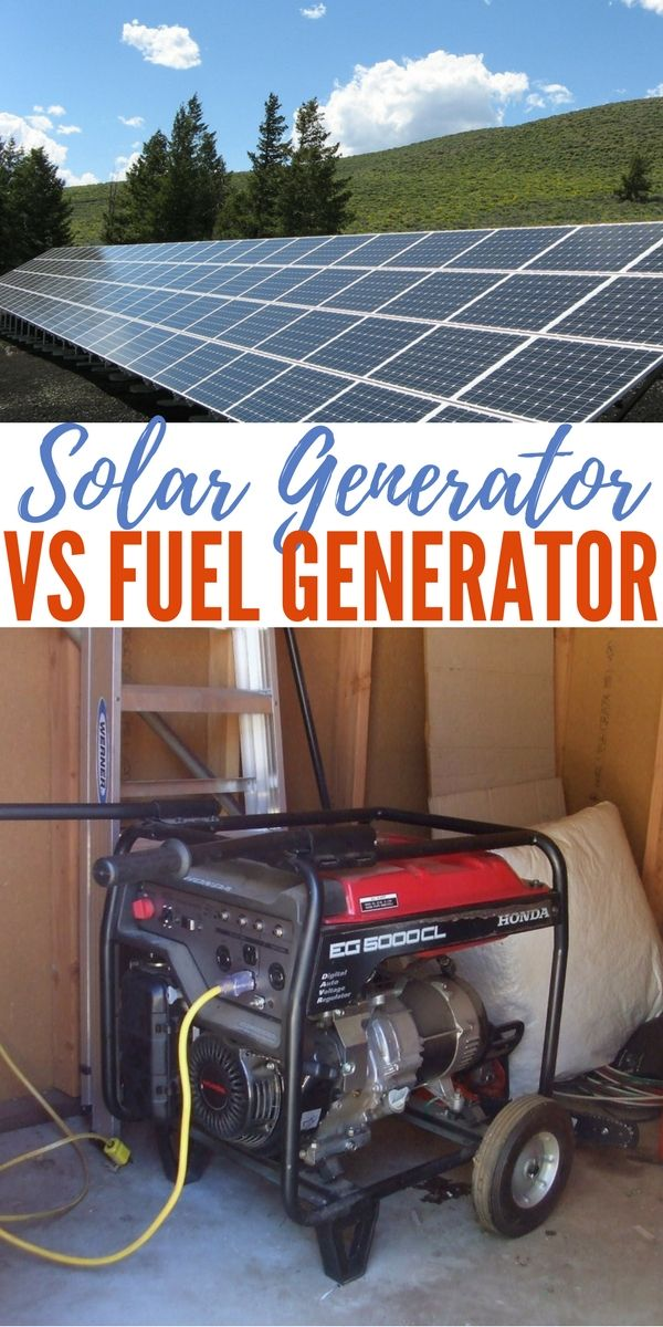Solar Generator vs Fuel Generator One of the first purchases I made when getting into serious preparedness was a gas generator. Not only the necessity for electrify drove me but also the importance of creature comforts.
