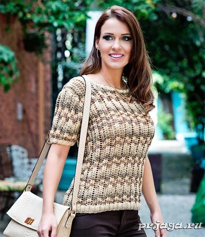 Меланжевый пуловер с коротким рукавом спицами