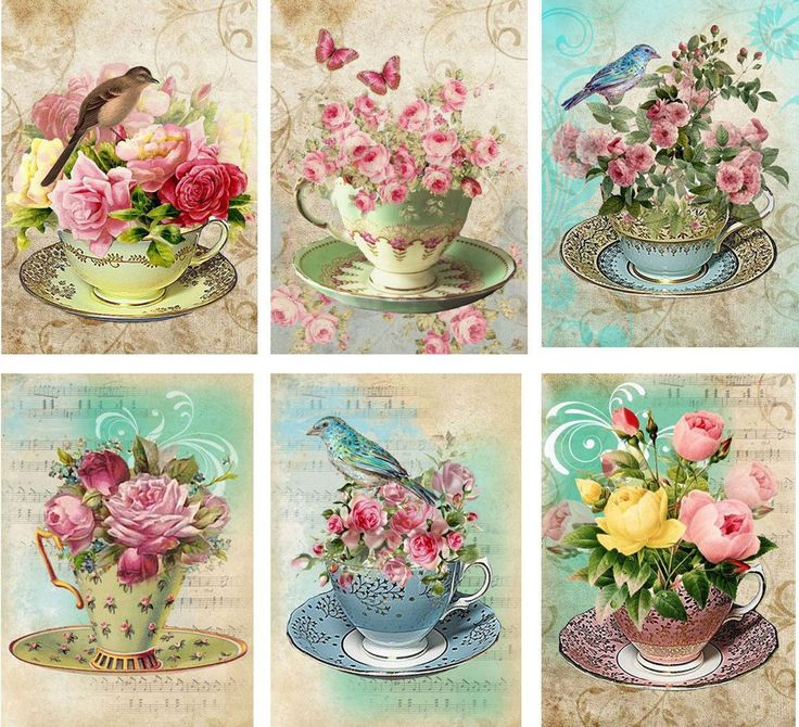 Vintage inspired Tea Cup birds roses card tags ATC altered art set of 6