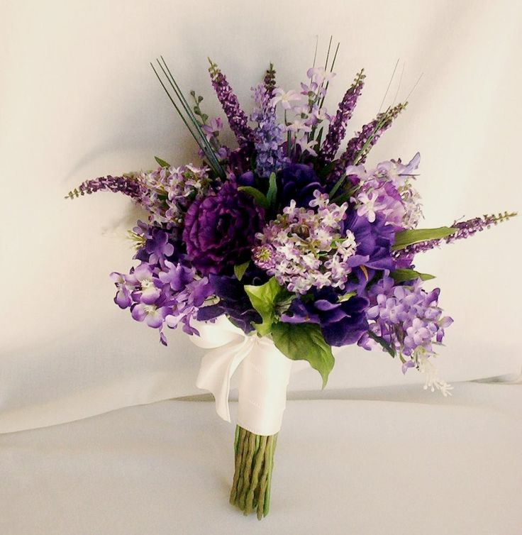 Lilac Bridal Bouquet Package Faux Lilac Wedding Flowers custom for Jillian