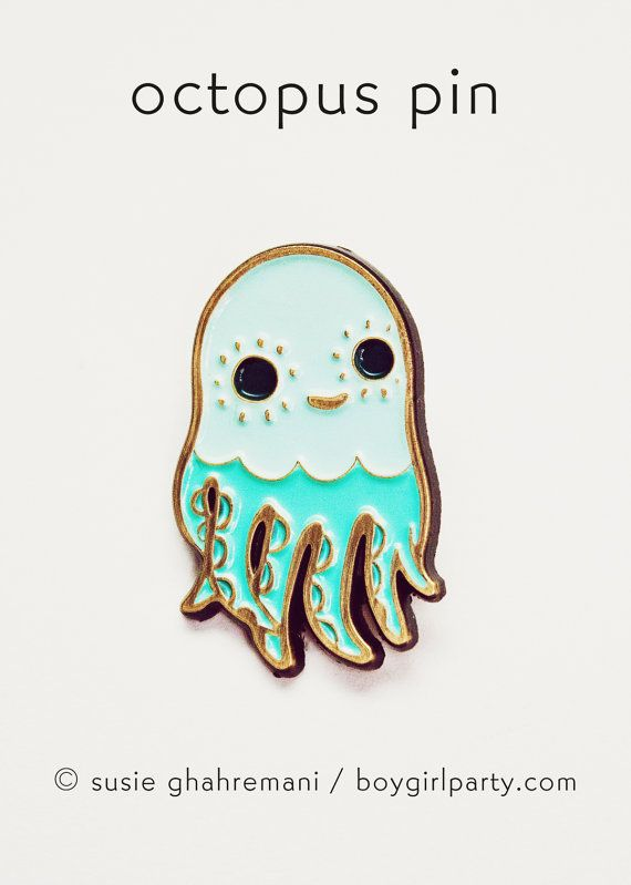 You will receive this enamel pin featuring an octopus by Susie Ghahremani / boygirlparty.com  This squid pin is made of iron with a brass colored finish and four colors of enamel, this pin measures approximately 1.25 tall and features a butterfly clasp for easy closure.  Please be advised that this pin is small and therefore not suitable for kids.  Artwork by Susie Ghahremani / boygirlparty ®  To visit my entire illustrated jewelry collection (including more pins! as well as glass, cast…