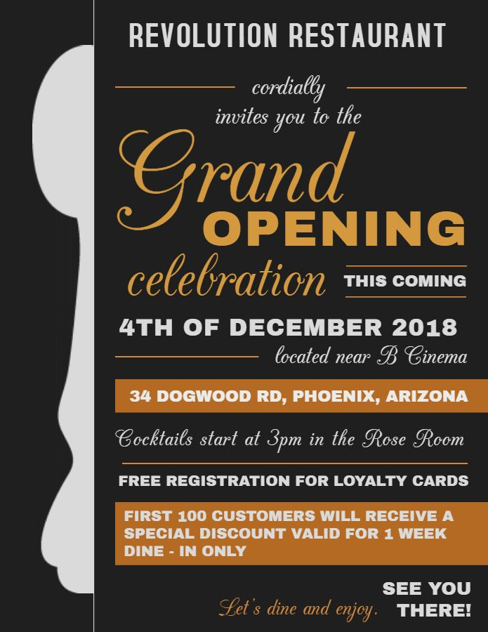 restaurant small business grand opening flyer design template