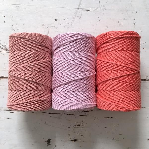 Twisted Macrame Cotton Rope • Melon Pink Salmon • 1.5 mm – ChompaHandmade