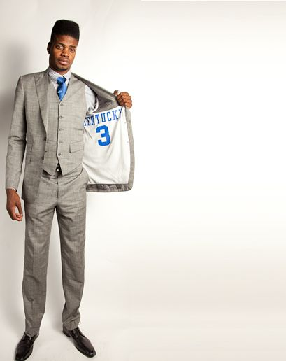 Nerlens Noel looking swank--and showing Kentucky some love--in GQ Magazine.