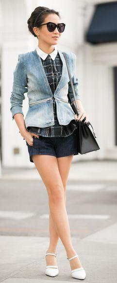 LOVE THIS -> Rebecca Taylor Zip-Waist denim Jacket by Wendy's Lookbook