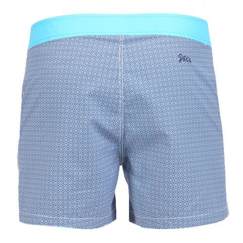 JACQUARD MID-LENGHT BOARDSHORTS WITH TURQUOISE WAISTBAND Turquoise jacquard nylon mid-length boardshorts with fixed waistband. Two front pockets. Back Gili's logo embroidery. Exterior button and interior metal hook closure. Zippered. Internal net. COMPOSITION: 100% POLYESTER lining 100% POLYESTER. Model wears size L he is 189 cm tall and weighs 86 Kg.