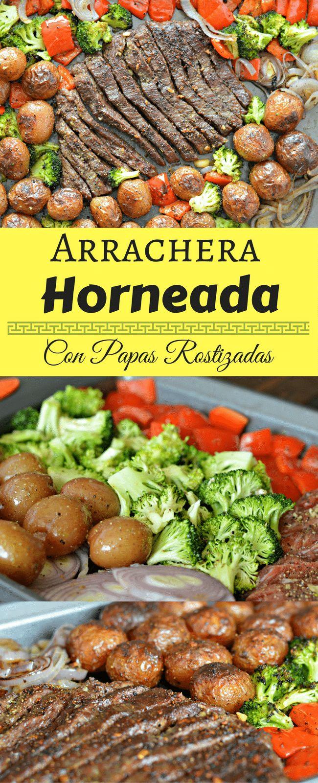 Esta receta para Arrachera Horneada con Papas Rostizadas es deliciosa y facil la preparacion. Ademas la limpieza no te tomara mas que 5 minutos!
