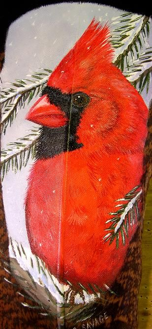 Male Cardinal by Gail Savage  The male and female can be done togethe on a feather