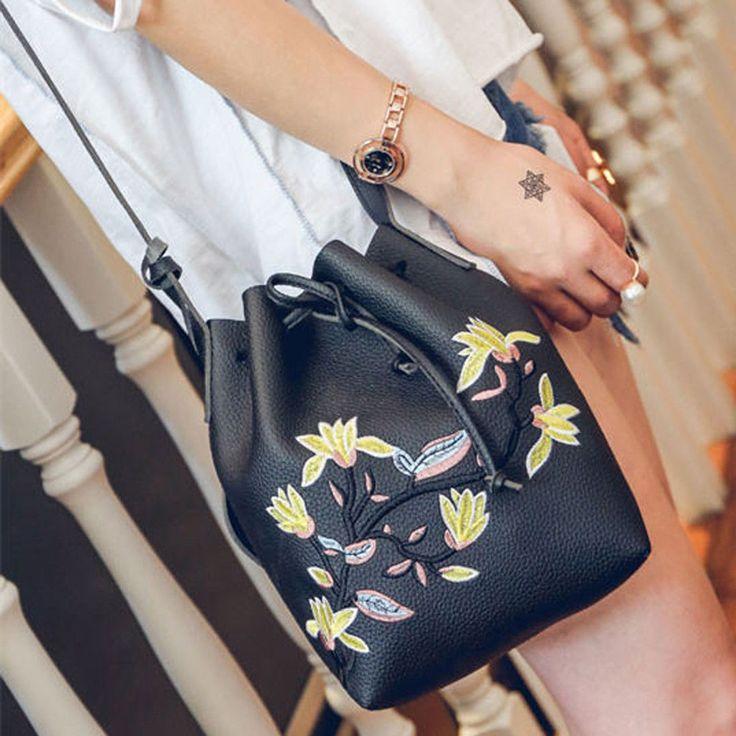 Womens Girl Flower Winter Tote Shoulder Messenger Cross Body String Bag Handbag