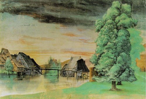 """Willow Mill"" (1498) watercolor - Albrecht Dürer (1471-1528)"