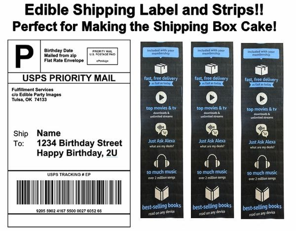 Amazon Shipping Label Tape Strips Box Cake Edible Cake Topper Image Shipping Label Cake Shipping Strips Shipping Box Cake Amazon Label Box Cake Edible Cake Toppers Box Cake Edible Cake