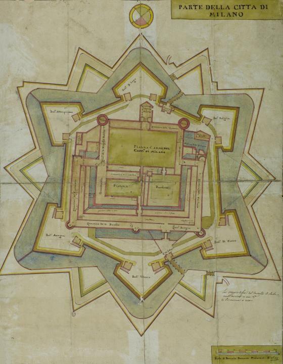"""Anonimo, parte della città di Milano, disegno, 1659, Milano Civica Raccolta delle Stampe """"Achille Bertarelli"""""""