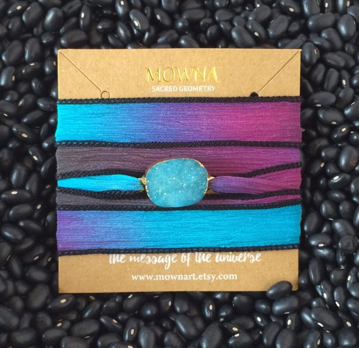 Silk ribbon bracelet druzy quartz gold plated yoga jewelry by Mownart on Etsy
