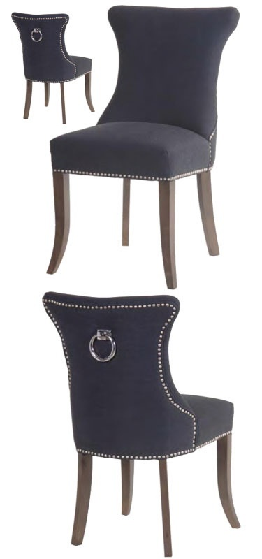 Superb Black Ring Pull Studded Dining Chair   Buy From The French Furniture  Specialist