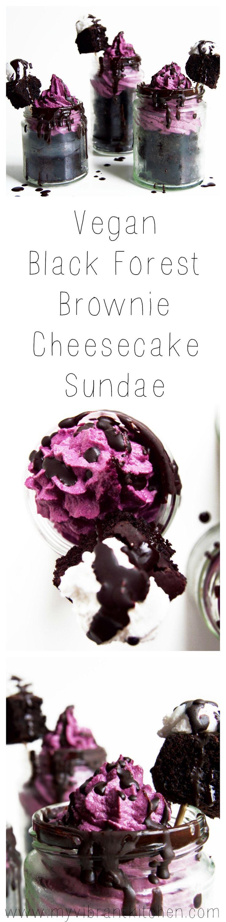 Vegan Brownie Black Forest Cheesecake Sundaes