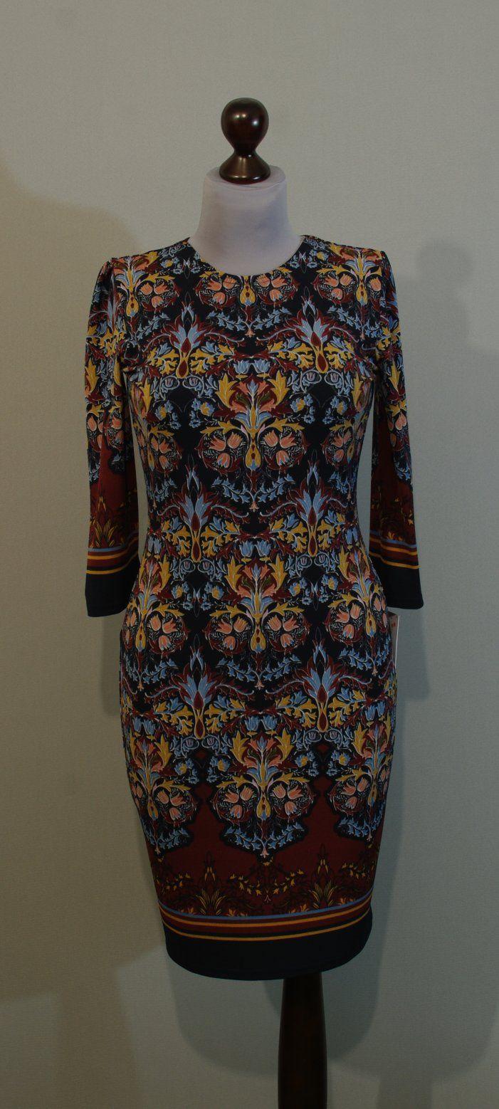 Бордово-коричневое платье-карандаш с восточными узорами Украина купить интернет (57)