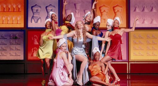 Sheri Rene Scott as the spoiled Princess Amneris and her handmaidens in Disney's AIDA on Broadway
