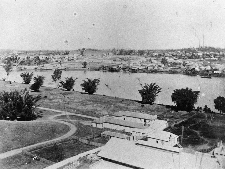 Early view of South Brisbane and the river, as seen from the city, Brisbane, ca. 1885