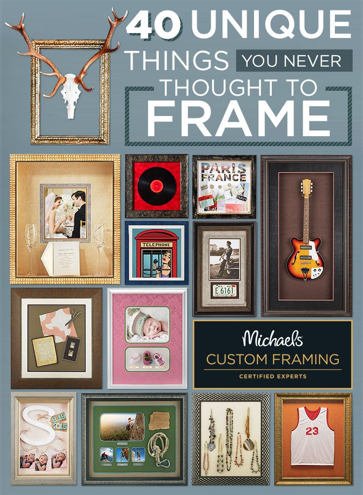 Think outside the photo and frame what you love. From wedding memoirs & travel keepsakes to family heirlooms and more, Michaels can custom frame just about anything! Learn more about the framing process and view hundreds of moulding and matting options on Michaels.com/custom-framing