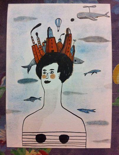 Mare della tranquillità. Agosto #illustration #portrait #ink #woman #handmade #black&white #illustrazione #china #sea #whale