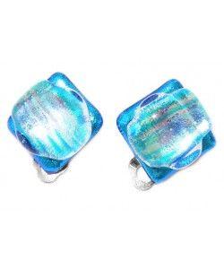 Clip oorbellen van twee soorten luxe blauw dichroide glas!