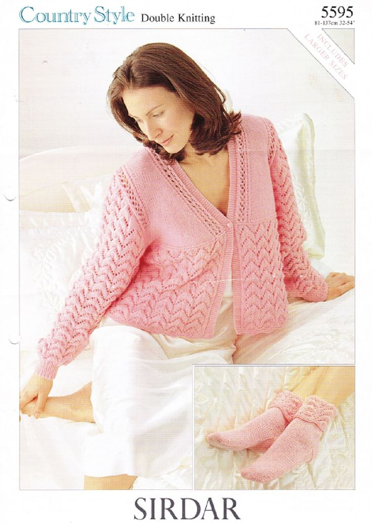 Knitting Pattern For Ladies Bed Socks : Sirdar Knitting Pattern 5595, DK, Ladys Bed Jacket & Bed Socks Knitting...
