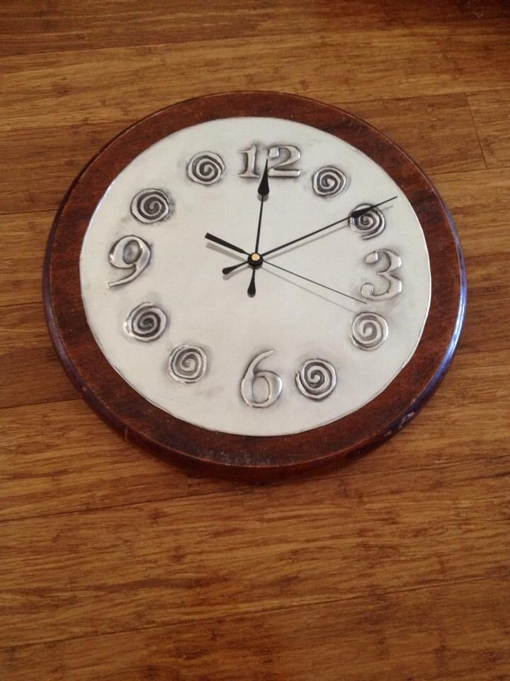 Pewter kitchen clock