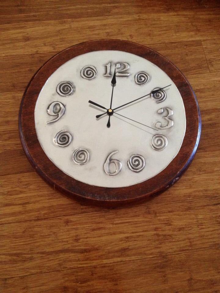 Pewter kitchen clock