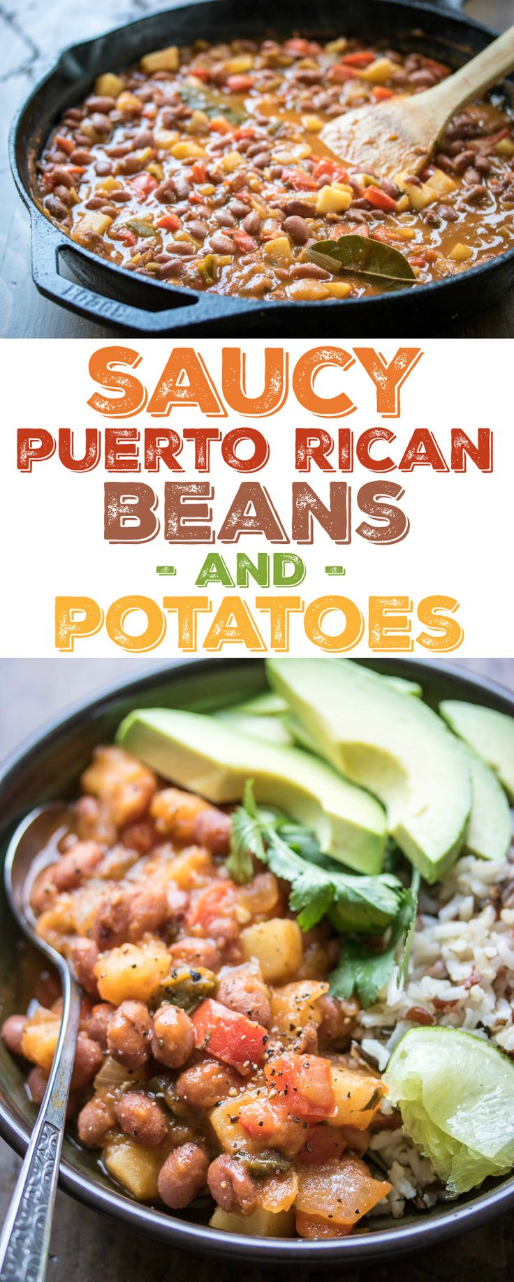One pot and one hour is all you need to get these Saucy Puerto Rican Beans and Potatoes on the dinner table!