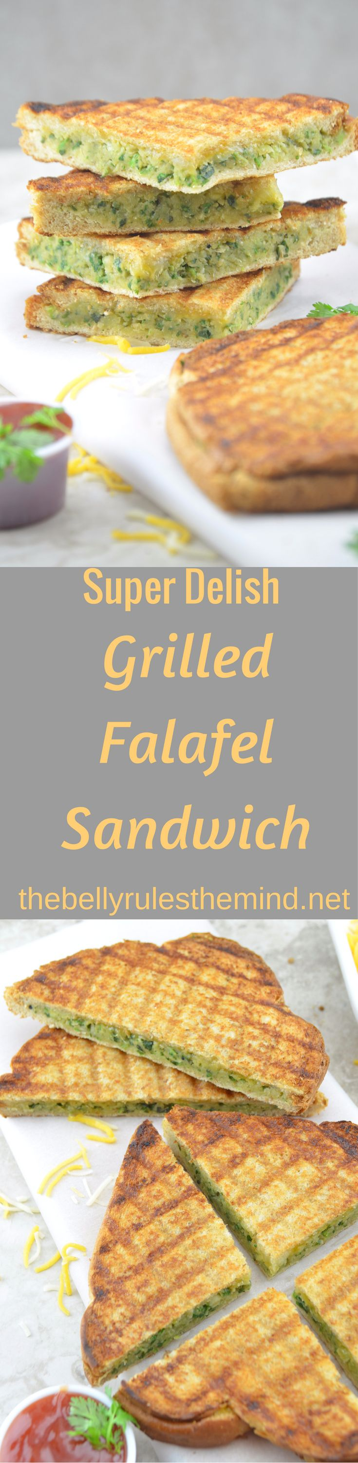 This Incredibly delicious Grilled Falafel sandwich is unlike any other you've tasted and not your regular sandwich recipe. Today I am sharing a very quick, full of protein and delicious Grilled falafel sandwich recipe that is loaded with chickpeas and some cheese ;)  www.thebellyrulesthemind.net @bellyrulesdmind