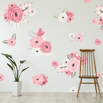 Large Graphic Floral Cluster Wall Decals - Free Shipping Worldwide Over $99. Each order includes 60 graphic floral wall decals in total. Order today from UrbanWalls.