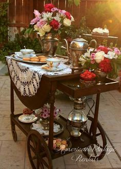 This is such a splendid vintage way to enjoy a spot of English afternoon tea.