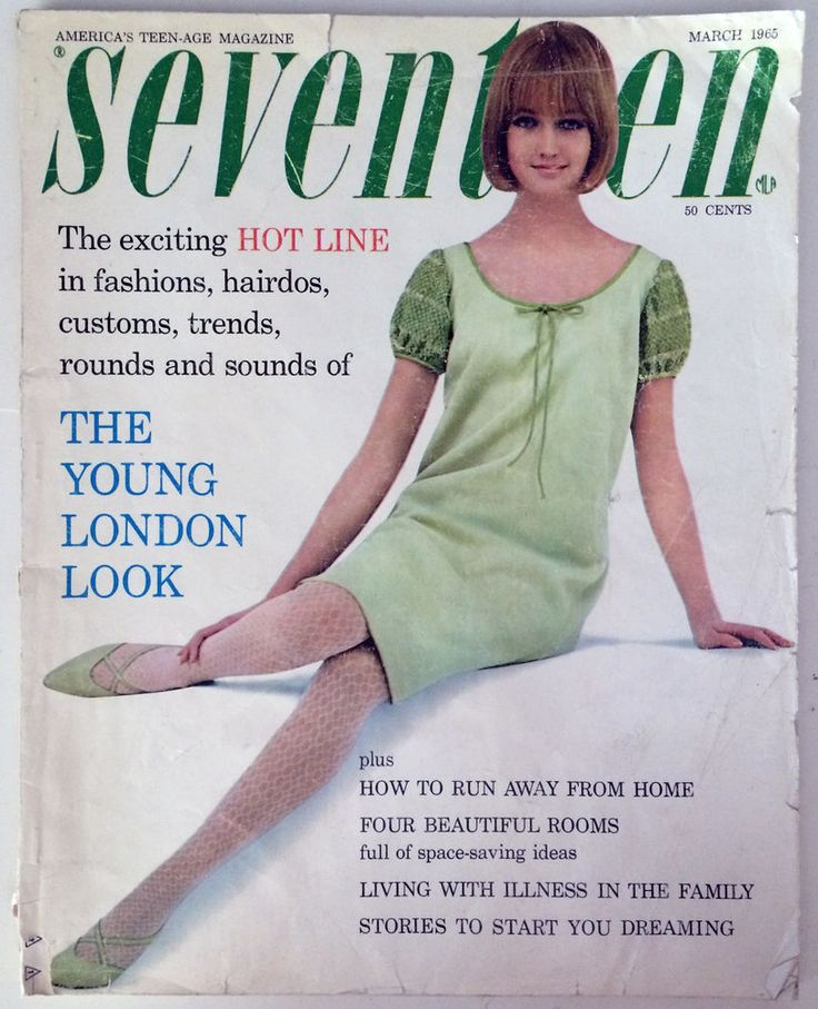 "SEVENTEEN, America's Teen-Age Magazine. March 1965. Highlights: Mary Quant's London Look; Caroline Charles; Angela Cash; Roger Nelson; Julie Andrews ""Sound of Music""; ""Those Calloways""; etc. Contents include: Clothes/fashion, hairstyles, perfume, movies, records, short stories, great vintage ads. Sue Alwin cover model. With bound-in Sealarks by Roxanne info card (considered pages 65 & 66). With bound-in Confidets coupon (considered pages 211 & 212).  236 pages."