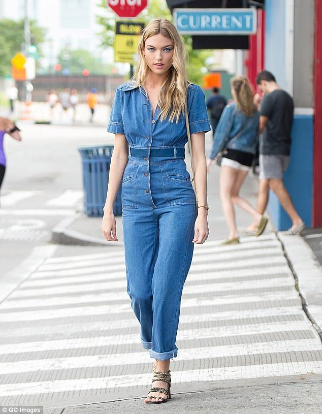 Martha Hunt struts around NYC in close-cropped jumpsuit | Daily Mail Online