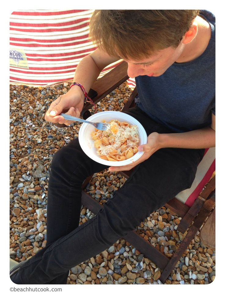 After Sea Swim Pasta Recipe.  Supper on the beach - can't beat it.