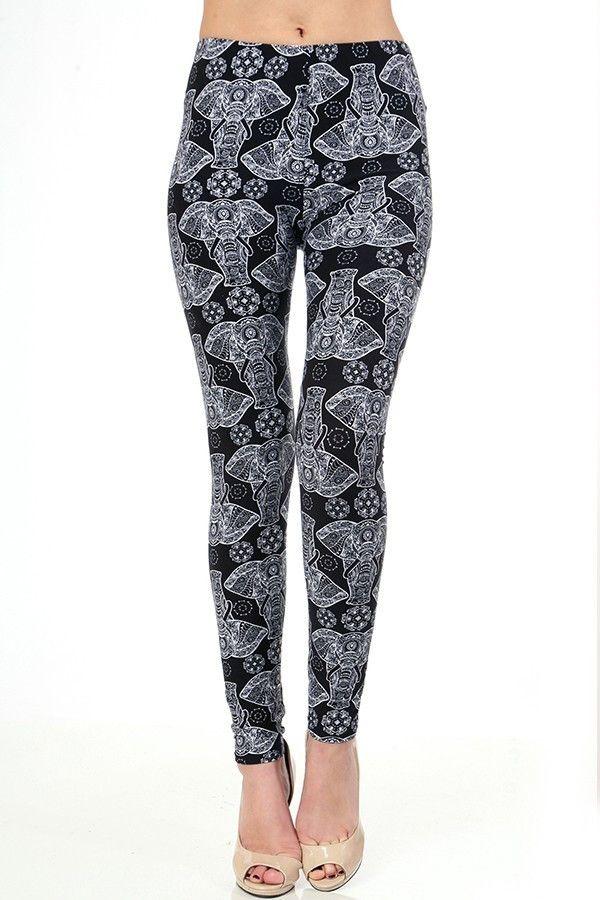 Ladies Full Length Leggings AFRICAN ELEPHANTS Black & White. OS/PLUS