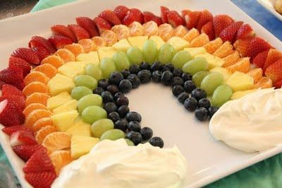 Fruit Rainbow--strawberries, clementines, pineapple, grapes, blue berries and whip!