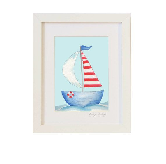 Velero arte, niños barco arte, arte niños playa, guardería náutica, náutica niños imprimir, regalo de los niños, arte niños, impresiones de los niños, enmarcada